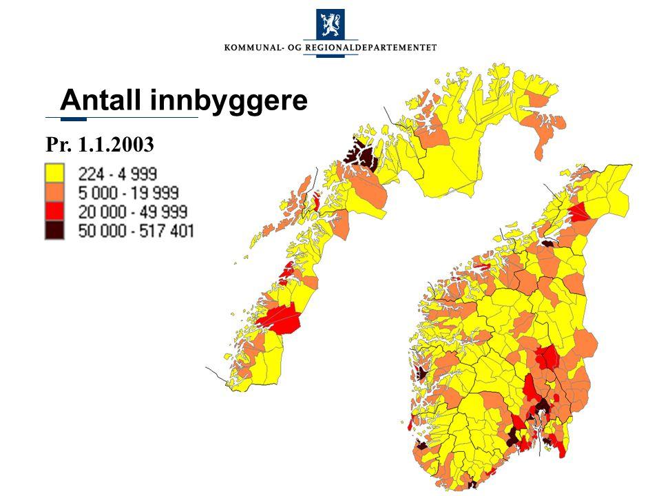 Pr. 1.1.2003 Antall innbyggere