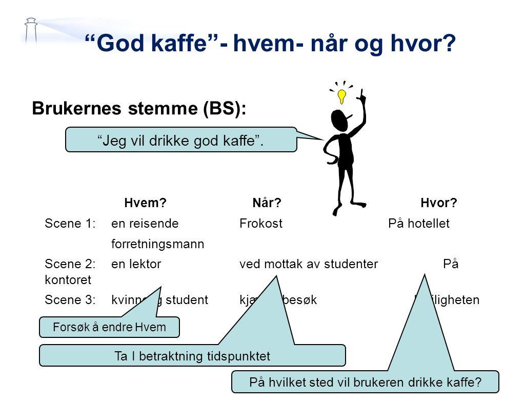 """""""God kaffe""""- hvem- når og hvor? Brukernes stemme (BS): Hvem? Når? Hvor? Scene 1:en reisendeFrokostPå hotellet forretningsmann Scene 2:en lektor ved mo"""