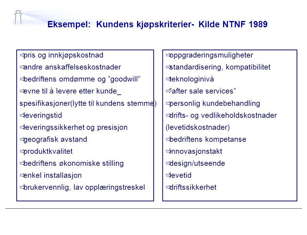 """Eksempel: Kundens kjøpskriterier- Kilde NTNF 1989  pris og innkjøpskostnad  andre anskaffelseskostnader  bedriftens omdømme og """"goodwill""""  evne ti"""