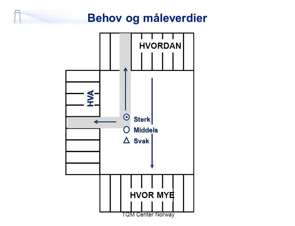 TQM Center Norway Behov og måleverdier HVORDAN HVOR MYE HVA Sterk Middels Svak