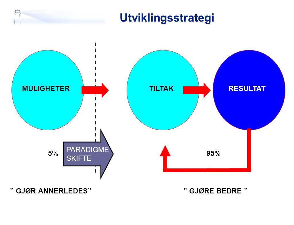 """Utviklingsstrategi MULIGHETERTILTAKRESULTAT PARADIGME SKIFTE 5% """" GJØR ANNERLEDES"""""""" GJØRE BEDRE """" 95%"""