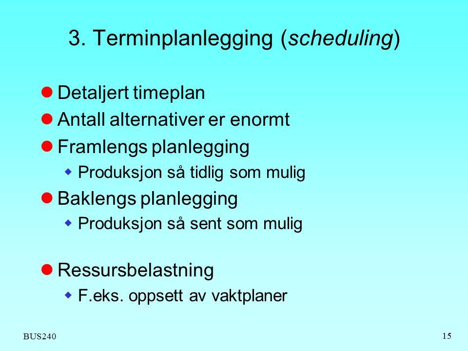 BUS240 15 3. Terminplanlegging (scheduling) Detaljert timeplan Antall alternativer er enormt Framlengs planlegging  Produksjon så tidlig som mulig Ba