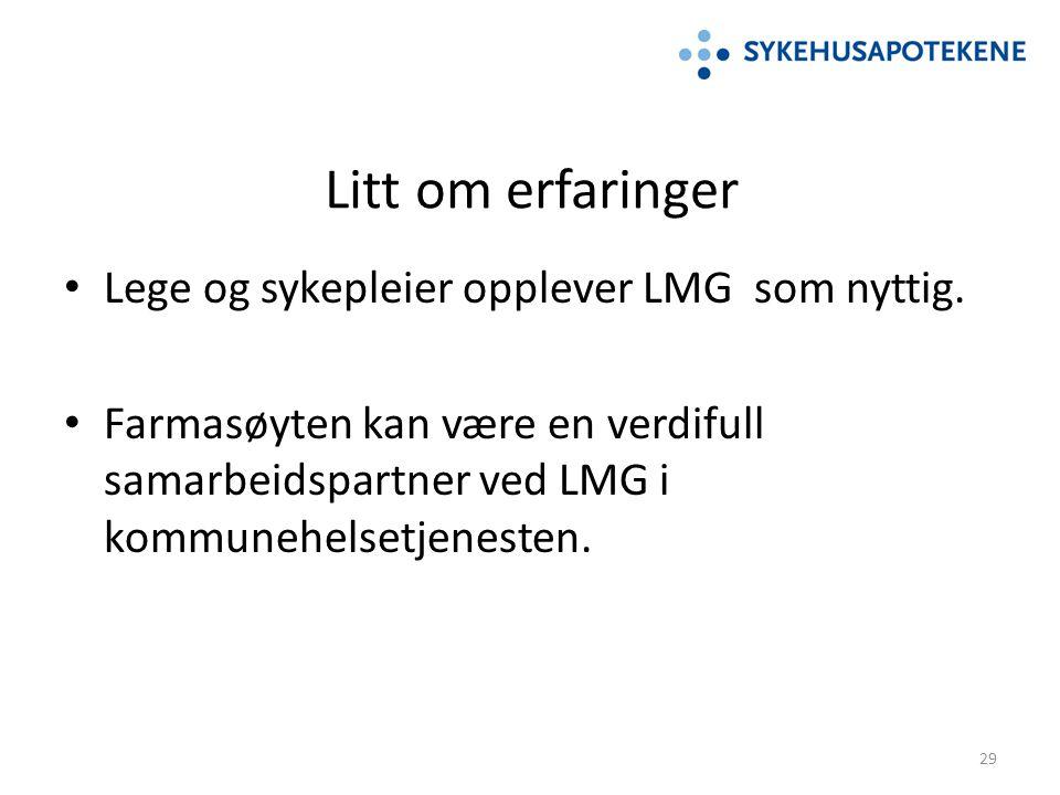 Litt om erfaringer Lege og sykepleier opplever LMG som nyttig. Farmasøyten kan være en verdifull samarbeidspartner ved LMG i kommunehelsetjenesten. 29