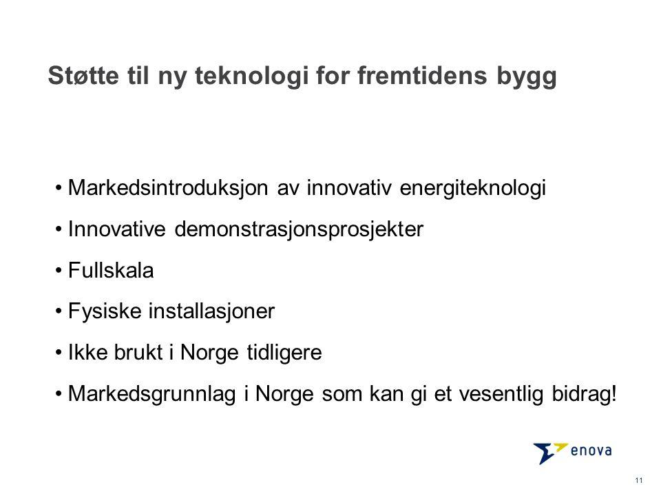 Støtte til ny teknologi for fremtidens bygg Markedsintroduksjon av innovativ energiteknologi Innovative demonstrasjonsprosjekter Fullskala Fysiske installasjoner Ikke brukt i Norge tidligere Markedsgrunnlag i Norge som kan gi et vesentlig bidrag.