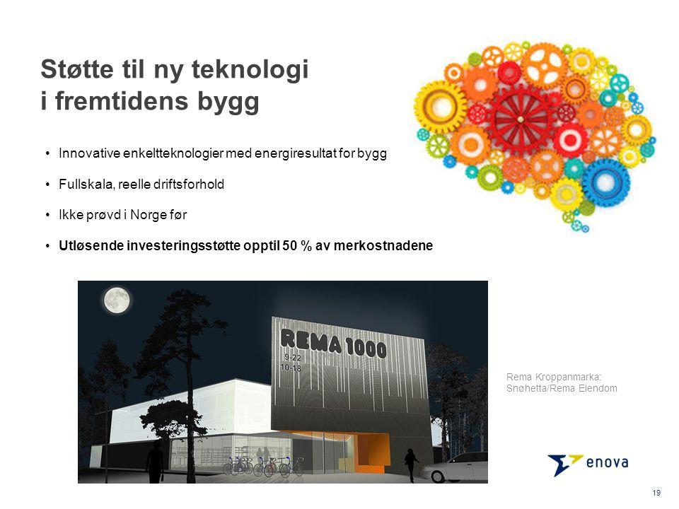 Støtte til ny teknologi i fremtidens bygg Innovative enkeltteknologier med energiresultat for bygg Fullskala, reelle driftsforhold Ikke prøvd i Norge før Utløsende investeringsstøtte opptil 50 % av merkostnadene 19 Rema Kroppanmarka: Snøhetta/Rema Eiendom