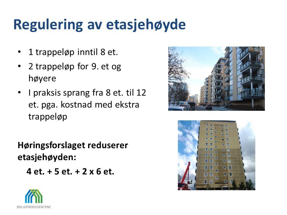 Regulering av etasjehøyde 1 trappeløp inntil 8 et. 2 trappeløp for 9. et og høyere I praksis sprang fra 8 et. til 12 et. pga. kostnad med ekstra trapp