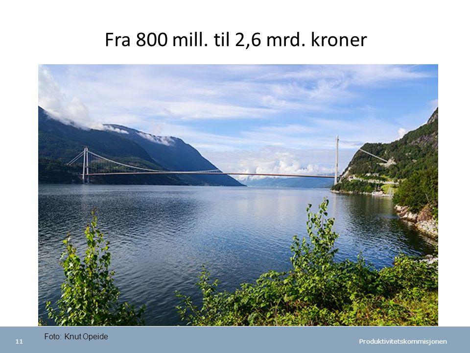 Produktivitetskommisjonen 11 Fra 800 mill. til 2,6 mrd. kroner Foto: Knut Opeide