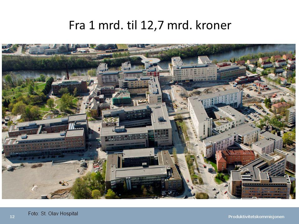 Produktivitetskommisjonen 12 Fra 1 mrd. til 12,7 mrd. kroner Foto: St. Olav Hospital