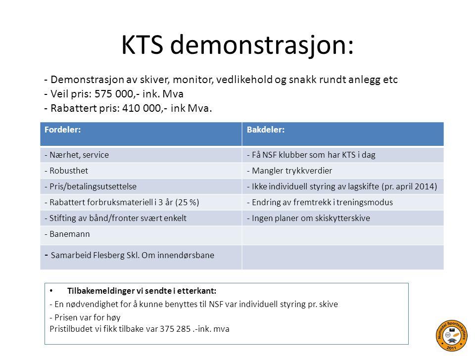KTS demonstrasjon: Tilbakemeldinger vi sendte i etterkant: - En nødvendighet for å kunne benyttes til NSF var individuell styring pr. skive - Prisen v