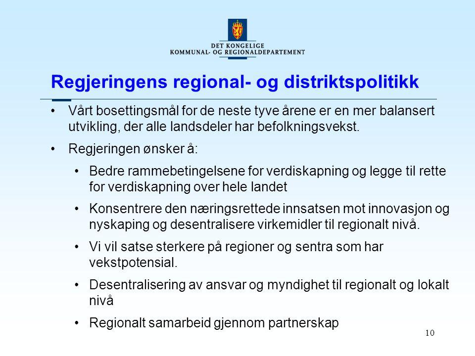 10 Regjeringens regional- og distriktspolitikk Vårt bosettingsmål for de neste tyve årene er en mer balansert utvikling, der alle landsdeler har befol