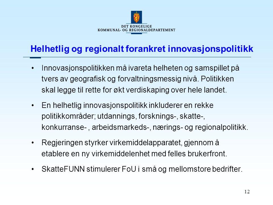12 Helhetlig og regionalt forankret innovasjonspolitikk Innovasjonspolitikken må ivareta helheten og samspillet på tvers av geografisk og forvaltnings