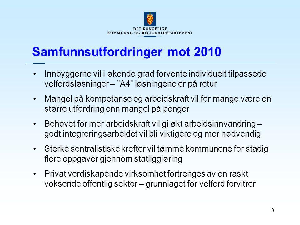 """3 Samfunnsutfordringer mot 2010 Innbyggerne vil i økende grad forvente individuelt tilpassede velferdsløsninger – """"A4"""" løsningene er på retur Mangel p"""