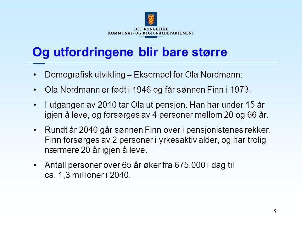 5 Og utfordringene blir bare større Demografisk utvikling – Eksempel for Ola Nordmann: Ola Nordmann er født i 1946 og får sønnen Finn i 1973. I utgang