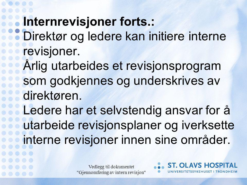 Vedlegg til dokumentet Gjennomføring av intern revisjon Internrevisjoner forts.: Direktør og ledere kan initiere interne revisjoner.