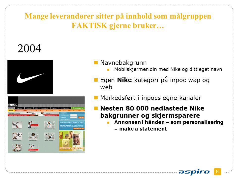 10 Mange leverandører sitter på innhold som målgruppen FAKTISK gjerne bruker… Navnebakgrunn Mobilskjermen din med Nike og ditt eget navn Egen Nike kat