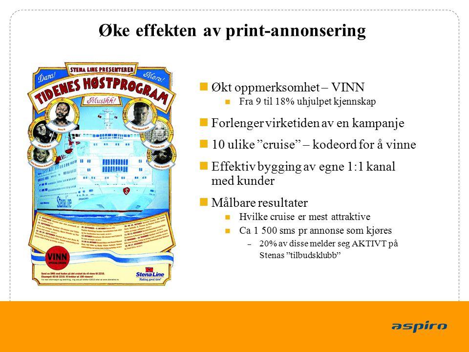"""13 Øke effekten av print-annonsering Økt oppmerksomhet – VINN Fra 9 til 18% uhjulpet kjennskap Forlenger virketiden av en kampanje 10 ulike """"cruise"""" –"""