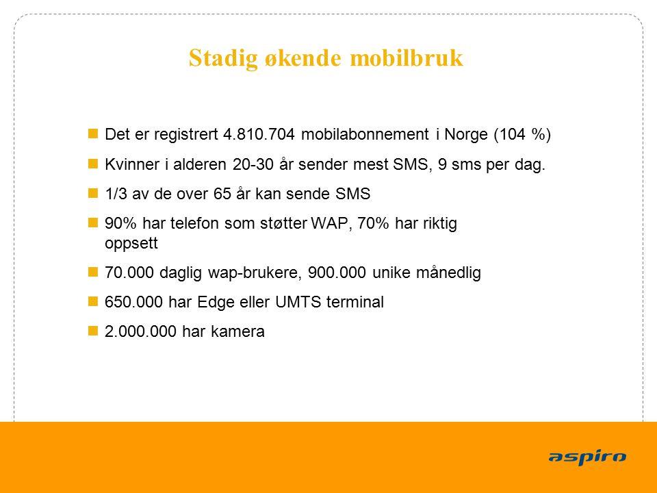 4 Stadig økende mobilbruk Det er registrert 4.810.704 mobilabonnement i Norge (104 %) Kvinner i alderen 20-30 år sender mest SMS, 9 sms per dag. 1/3 a