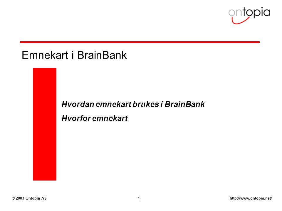 http://www.ontopia.net/© 2003 Ontopia AS1 Emnekart i BrainBank Hvordan emnekart brukes i BrainBank Hvorfor emnekart