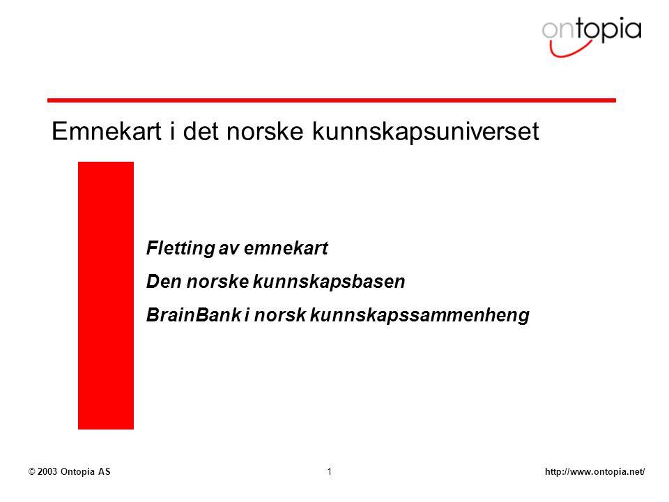 http://www.ontopia.net/© 2003 Ontopia AS1 Emnekart i det norske kunnskapsuniverset Fletting av emnekart Den norske kunnskapsbasen BrainBank i norsk kunnskapssammenheng