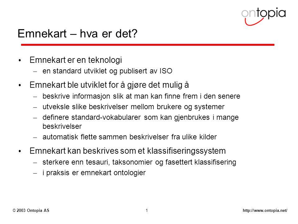 http://www.ontopia.net/© 2003 Ontopia AS1 Emnekart – hva er det? Emnekart er en teknologi – en standard utviklet og publisert av ISO Emnekart ble utvi