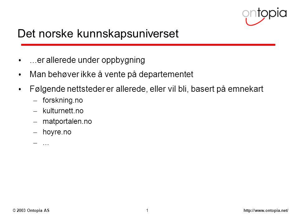 http://www.ontopia.net/© 2003 Ontopia AS1 Det norske kunnskapsuniverset...er allerede under oppbygning Man behøver ikke å vente på departementet Følgende nettsteder er allerede, eller vil bli, basert på emnekart – forskning.no – kulturnett.no – matportalen.no – hoyre.no –...