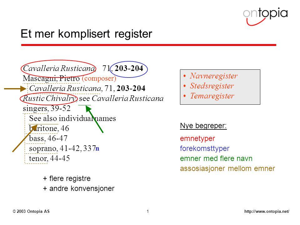 http://www.ontopia.net/© 2003 Ontopia AS1 Et mer komplisert register Cavalleria Rusticana, 71, 203-204 Mascagni, Pietro Cavalleria Rusticana, 71, 203-