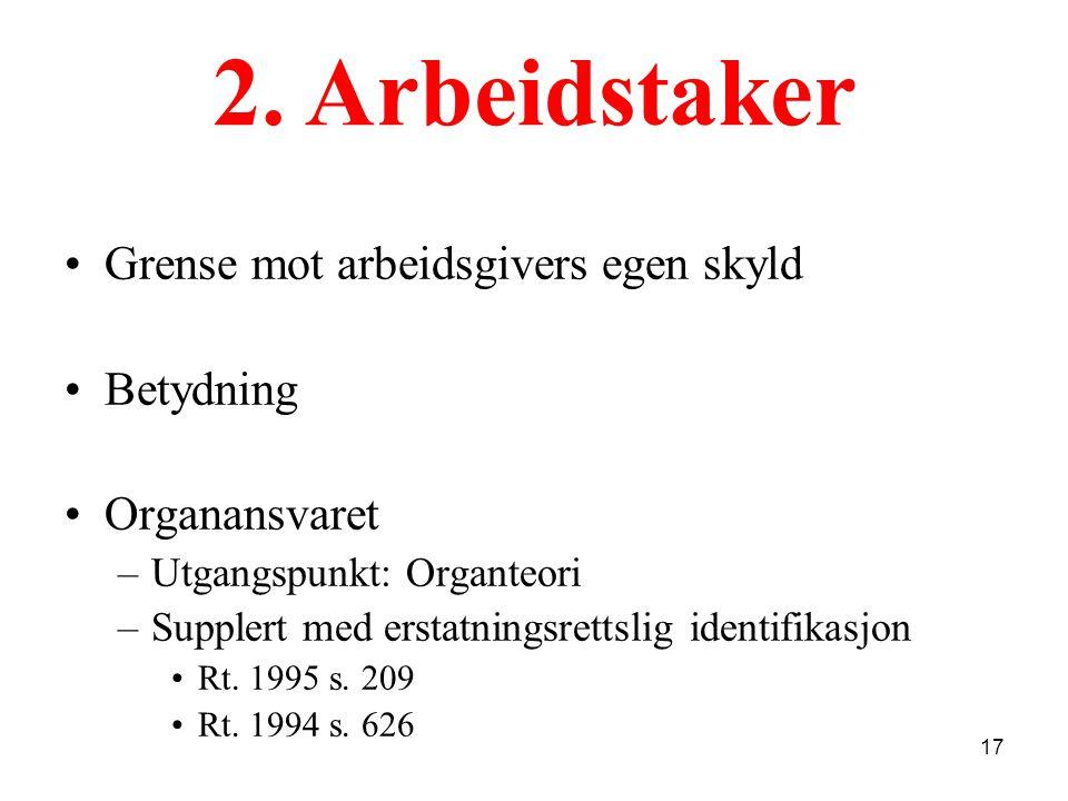 Grense mot arbeidsgivers egen skyld Betydning Organansvaret –Utgangspunkt: Organteori –Supplert med erstatningsrettslig identifikasjon Rt. 1995 s. 209