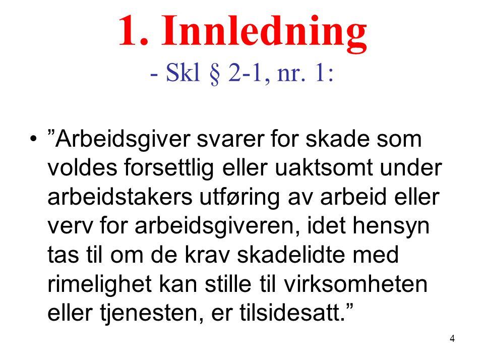 """1. Innledning - Skl § 2-1, nr. 1: """"Arbeidsgiver svarer for skade som voldes forsettlig eller uaktsomt under arbeidstakers utføring av arbeid eller ver"""