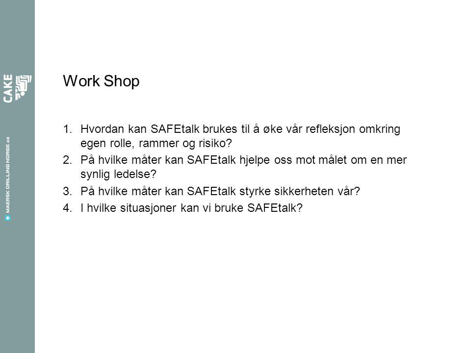 Work Shop 1.Hvordan kan SAFEtalk brukes til å øke vår refleksjon omkring egen rolle, rammer og risiko.