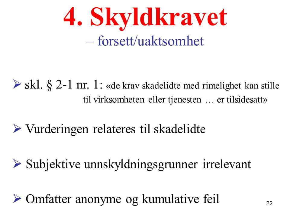 4. Skyldkravet – forsett/uaktsomhet  skl. § 2-1 nr.