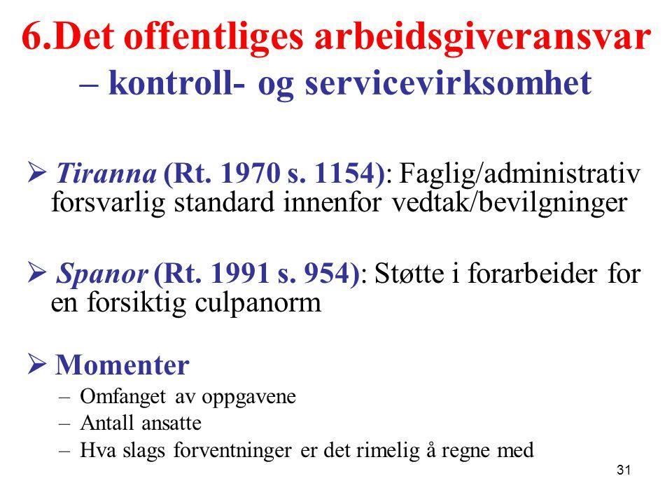 6.Det offentliges arbeidsgiveransvar – kontroll- og servicevirksomhet  Tiranna (Rt.