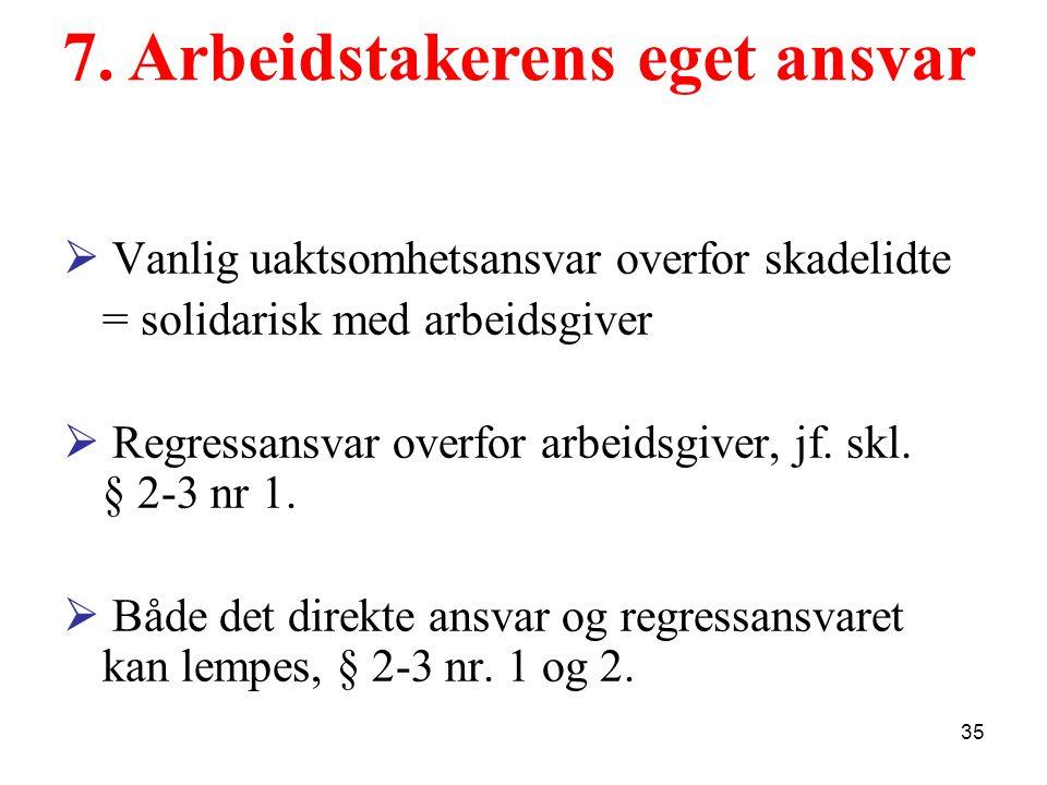 Ansatt Skadelidte Regress, jf.skl. § 2-3 nr.