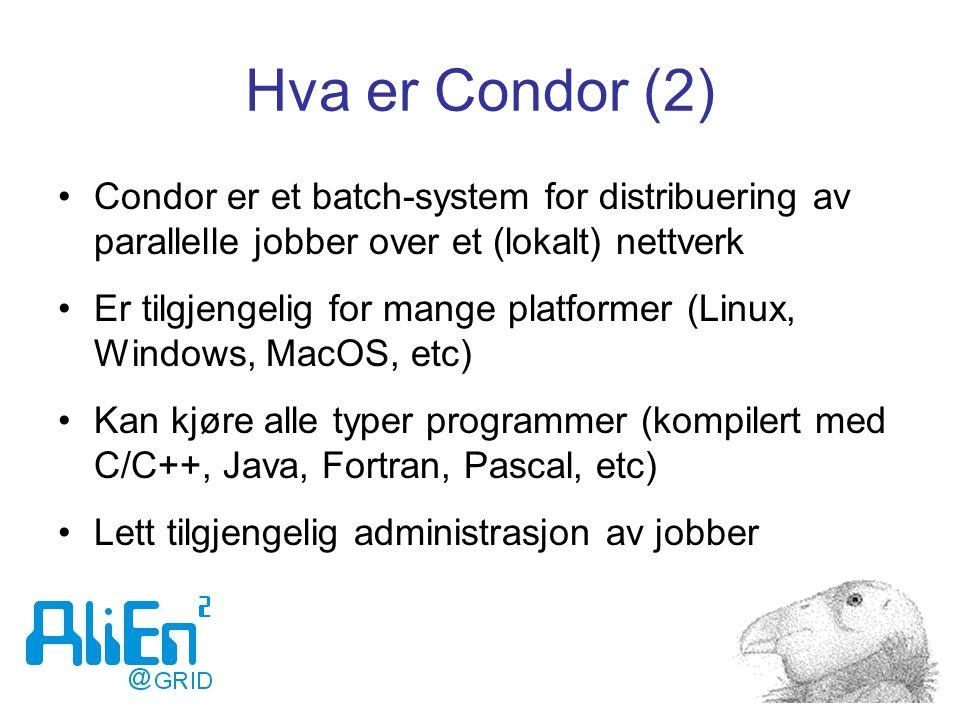 Hva er Condor (2) Condor er et batch-system for distribuering av parallelle jobber over et (lokalt) nettverk Er tilgjengelig for mange platformer (Linux, Windows, MacOS, etc) Kan kjøre alle typer programmer (kompilert med C/C++, Java, Fortran, Pascal, etc) Lett tilgjengelig administrasjon av jobber