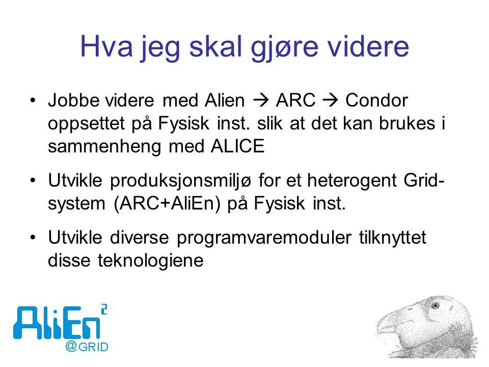 Hva jeg skal gjøre videre Jobbe videre med Alien  ARC  Condor oppsettet på Fysisk inst. slik at det kan brukes i sammenheng med ALICE Utvikle produk