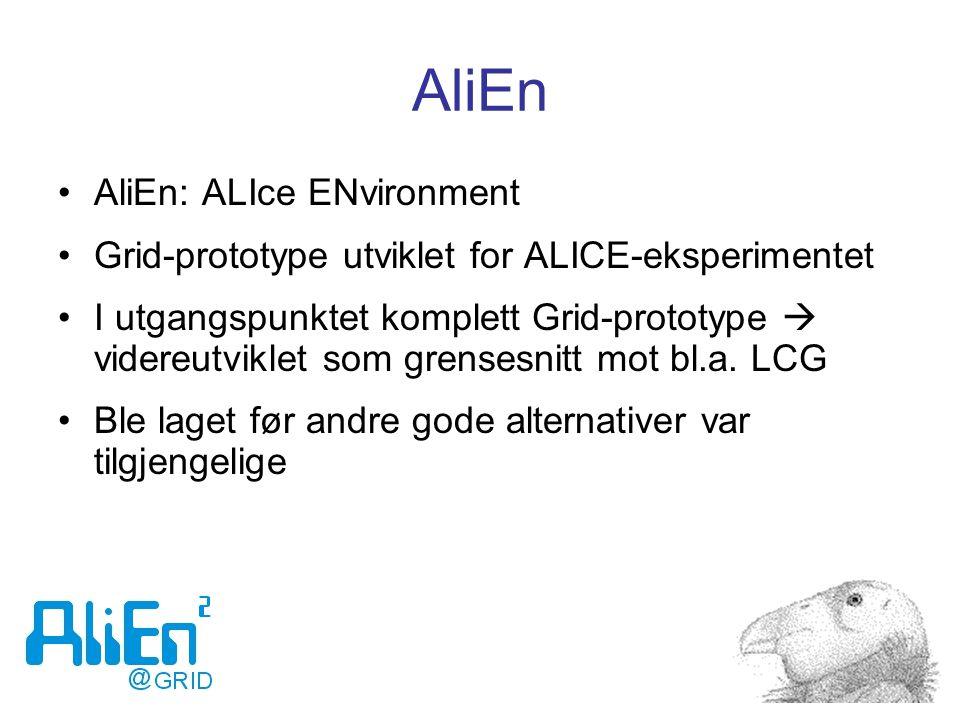 AliEn AliEn: ALIce ENvironment Grid-prototype utviklet for ALICE-eksperimentet I utgangspunktet komplett Grid-prototype  videreutviklet som grensesnitt mot bl.a.