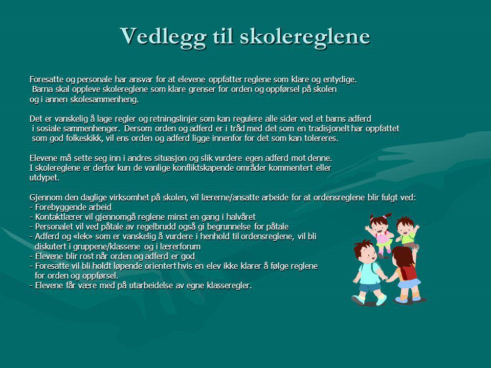 Vedlegg til skolereglene Foresatte og personale har ansvar for at elevene oppfatter reglene som klare og entydige.