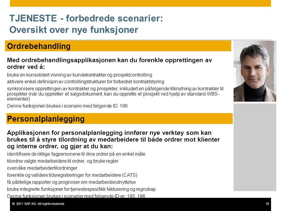 ©2011 SAP AG. All rights reserved.10 TJENESTE - forbedrede scenarier: Oversikt over nye funksjoner Ordrebehandling Med ordrebehandlingsapplikasjonen k