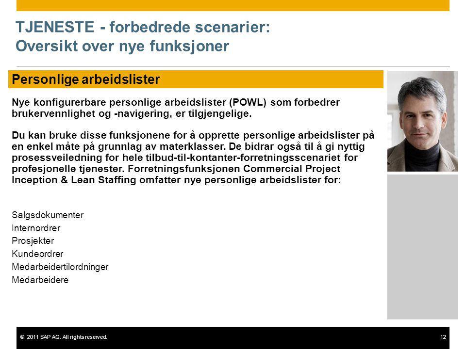 ©2011 SAP AG. All rights reserved.12 TJENESTE - forbedrede scenarier: Oversikt over nye funksjoner Personlige arbeidslister Nye konfigurerbare personl
