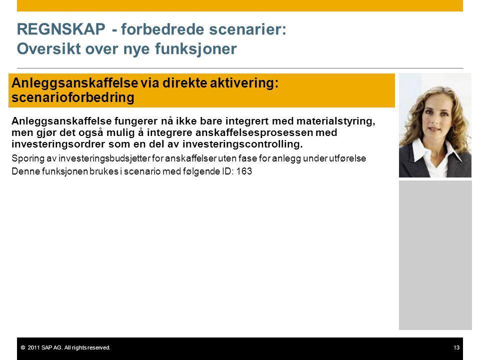 ©2011 SAP AG. All rights reserved.13 REGNSKAP - forbedrede scenarier: Oversikt over nye funksjoner Anleggsanskaffelse via direkte aktivering: scenario