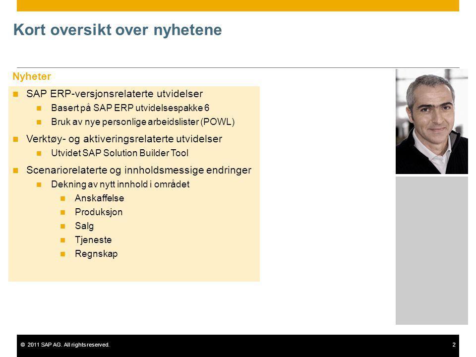 ©2011 SAP AG. All rights reserved.2 Kort oversikt over nyhetene Nyheter SAP ERP-versjonsrelaterte utvidelser Basert på SAP ERP utvidelsespakke 6 Bruk