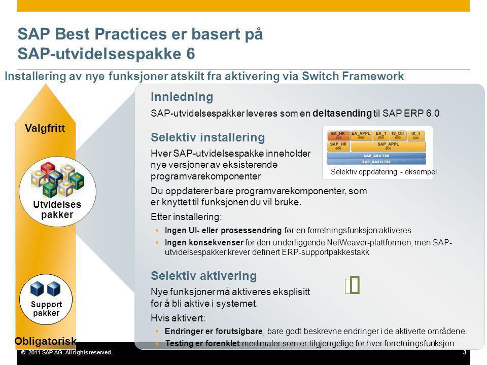 ©2011 SAP AG. All rights reserved.3 SAP Best Practices er basert på SAP-utvidelsespakke 6 Innledning SAP-utvidelsespakker leveres som en deltasending