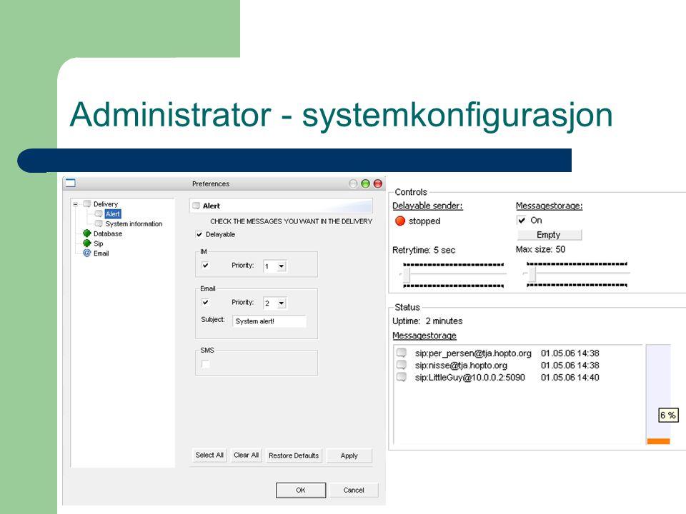 Administrator - systemkonfigurasjon