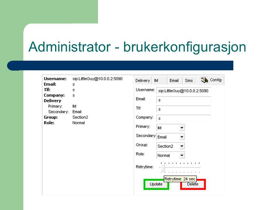 Administrator - brukerkonfigurasjon
