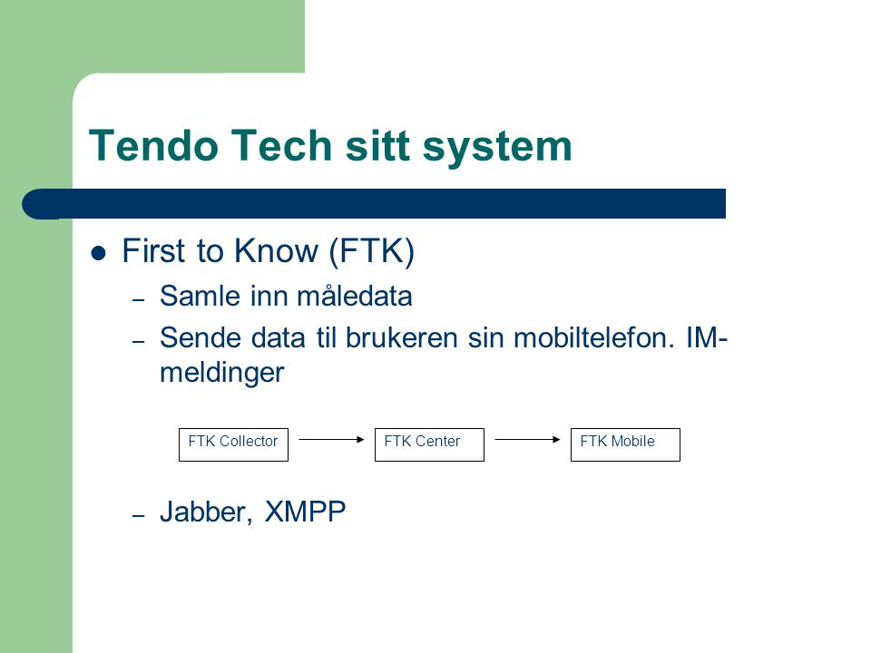 Tendo Tech sitt system First to Know (FTK) – Samle inn måledata – Sende data til brukeren sin mobiltelefon.