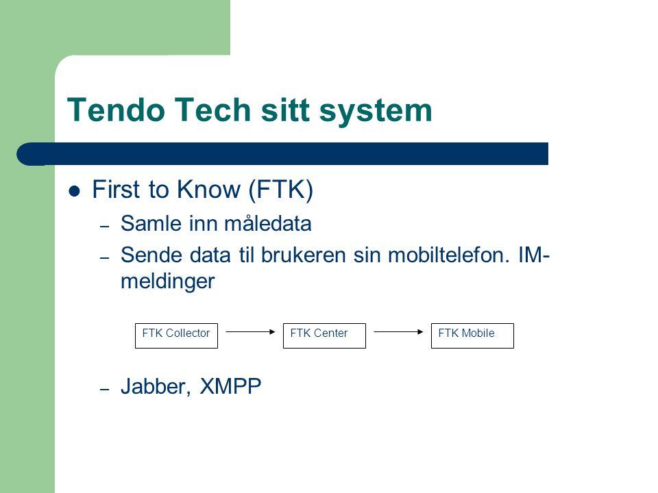 Tendo Tech sitt system First to Know (FTK) – Samle inn måledata – Sende data til brukeren sin mobiltelefon. IM- meldinger – Jabber, XMPP FTK Collector