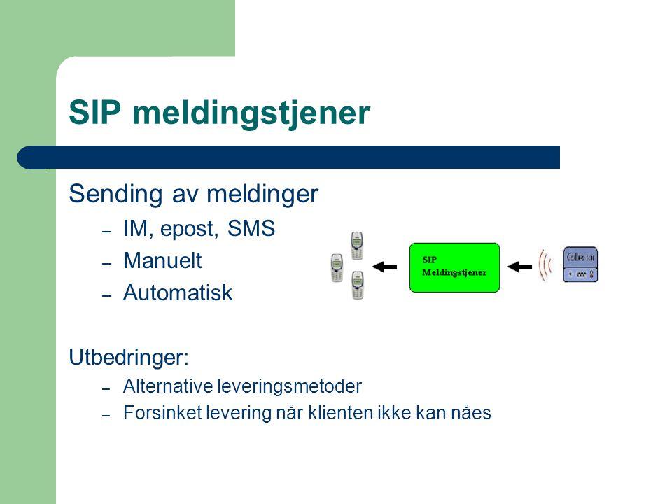 SIP meldingstjener Sending av meldinger – IM, epost, SMS – Manuelt – Automatisk Utbedringer: – Alternative leveringsmetoder – Forsinket levering når klienten ikke kan nåes