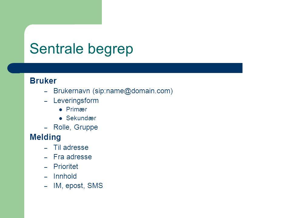 Sentrale begrep Bruker – Brukernavn (sip:name@domain.com) – Leveringsform Primær Sekundær – Rolle, Gruppe Melding – Til adresse – Fra adresse – Prioritet – Innhold – IM, epost, SMS