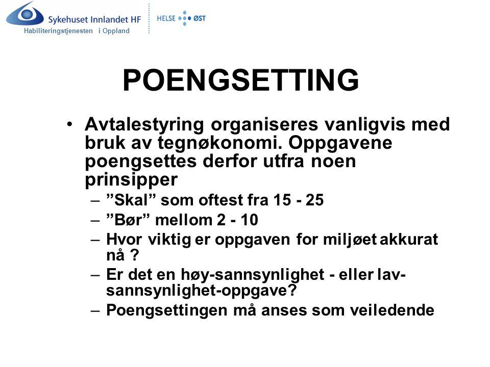 Habiliteringstjenesten i Oppland POENGSETTING Avtalestyring organiseres vanligvis med bruk av tegnøkonomi. Oppgavene poengsettes derfor utfra noen pri