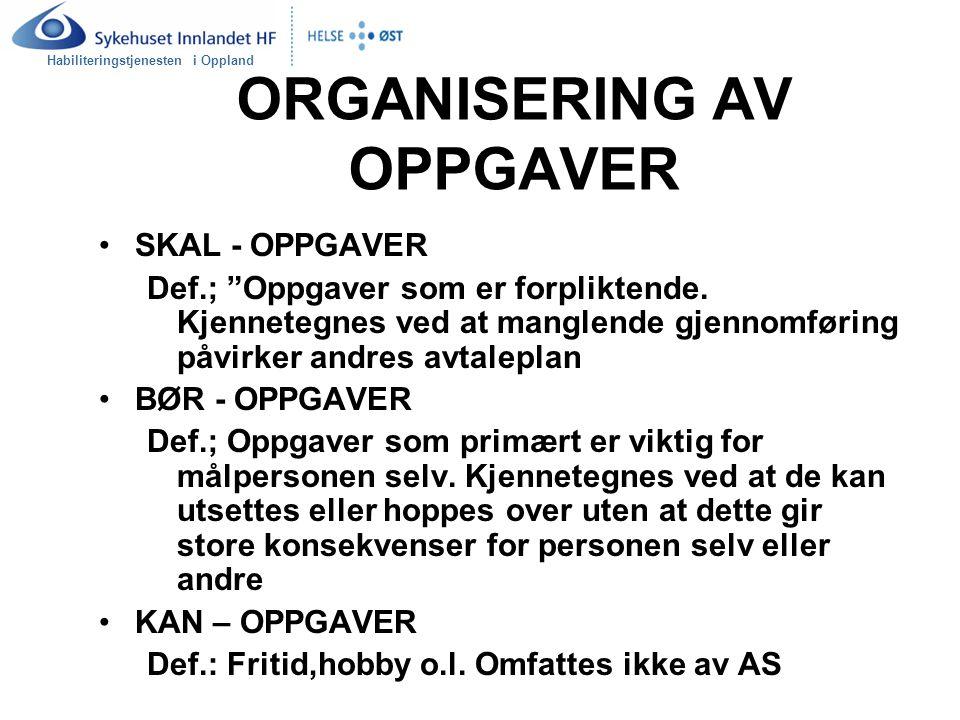 """Habiliteringstjenesten i Oppland ORGANISERING AV OPPGAVER SKAL - OPPGAVER Def.; """"Oppgaver som er forpliktende. Kjennetegnes ved at manglende gjennomfø"""