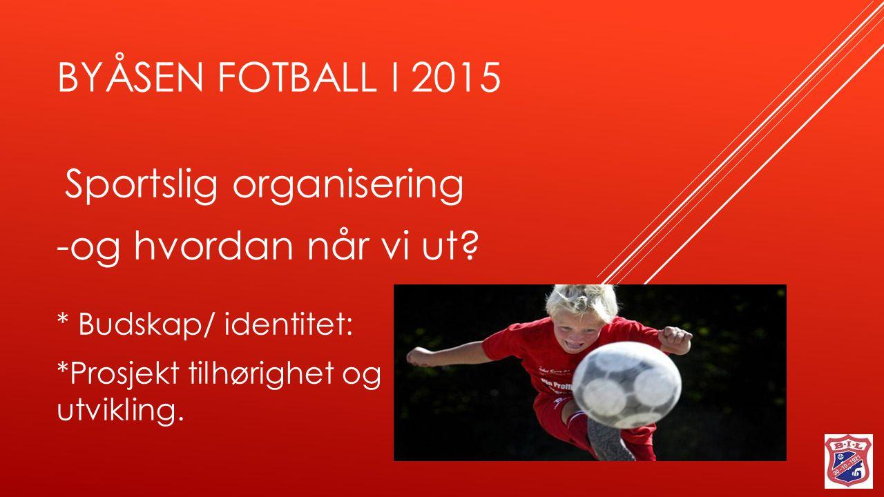 BYÅSEN FOTBALL I 2015 Sportslig organisering -og hvordan når vi ut? * Budskap/ identitet: *Prosjekt tilhørighet og utvikling.